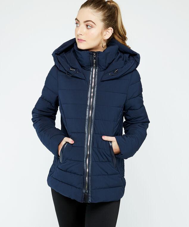 hooded polyfil puffer, Navy