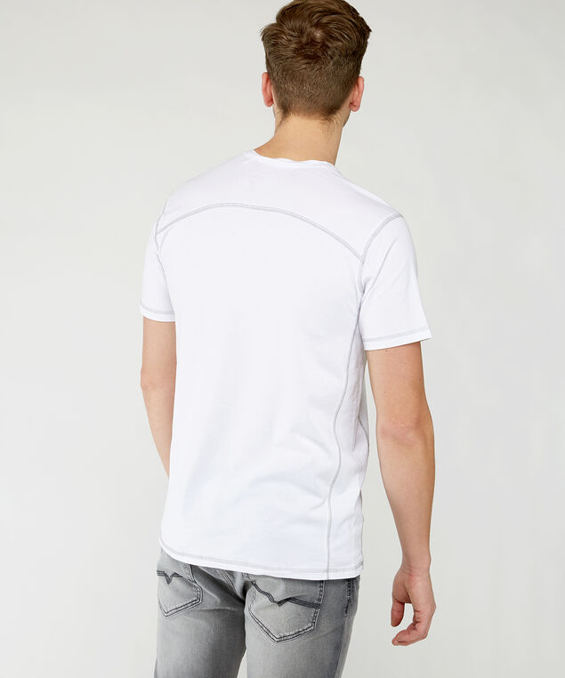 short sleeve henley tee, White