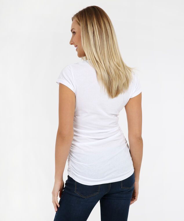 tee with side ruching - wb, WHITE, hi-res
