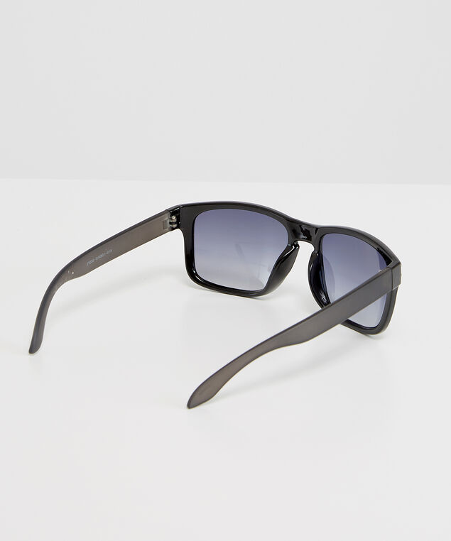 black plastic sunglasses, BLACK, hi-res