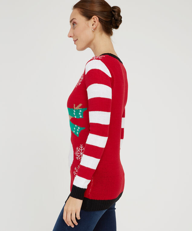 stripe sleeve christmas sweater - wb, RED, hi-res