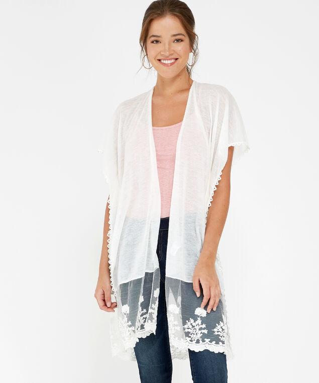 lace panel kimono, WHITE, hi-res