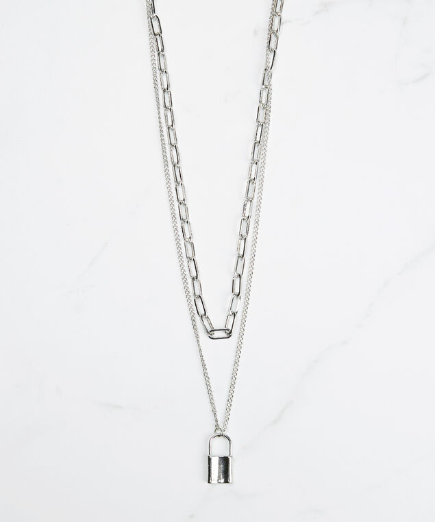 lock pad necklace, Silver, hi-res