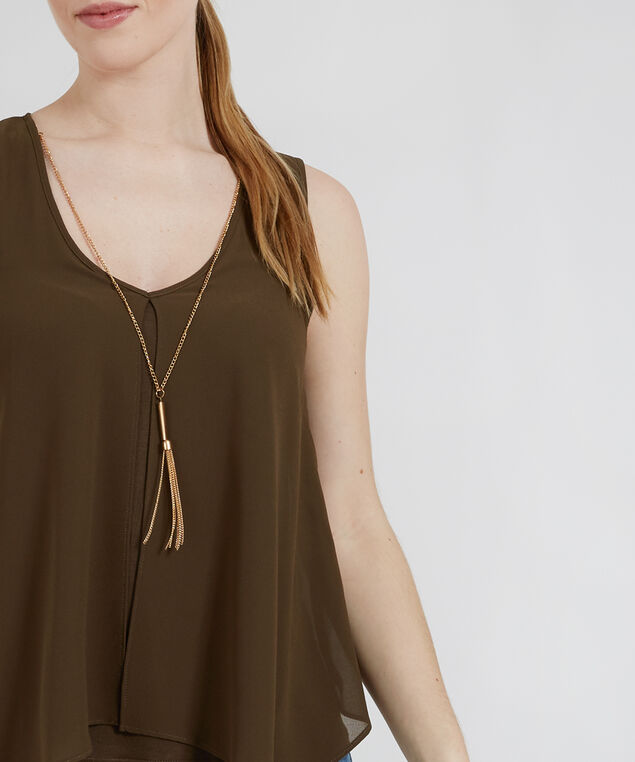 knit lined top with necklace - wb, OLIVE, hi-res