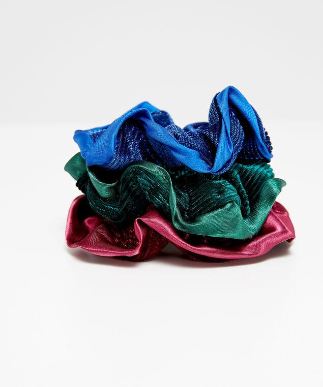 3 pack satin velvet scrunchies, MULTI, hi-res