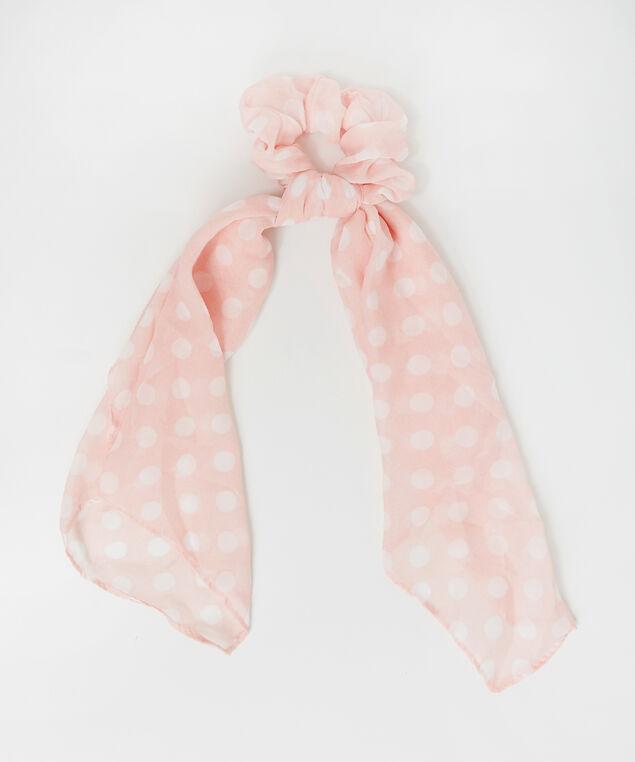 peach chiffon scrunchie hair scarf, PEACH DOT, hi-res