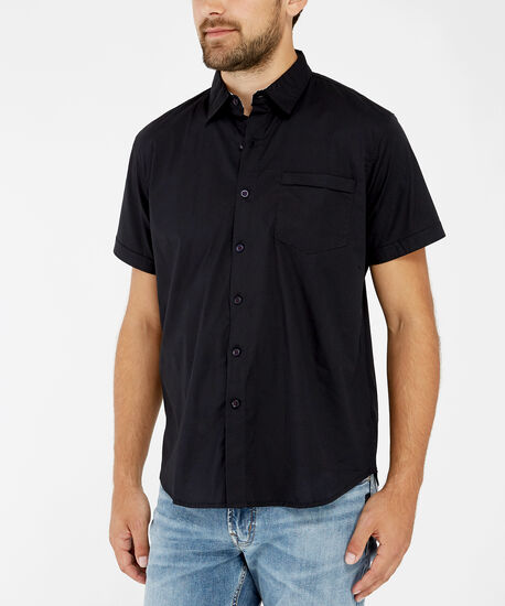 stretch button down shirt, BLACK, hi-res