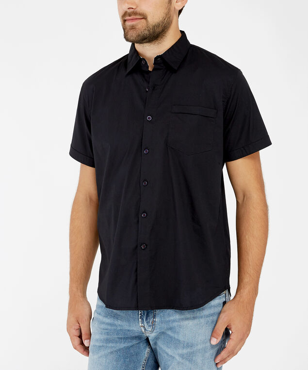stretch button down shirt, BLACK, hi-res