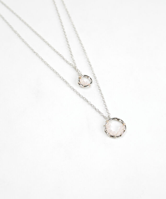 short layered pendant necklace, Silver