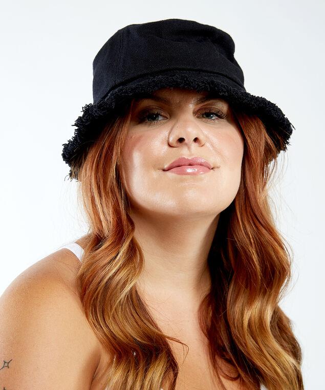 frayed bucket hat, Black