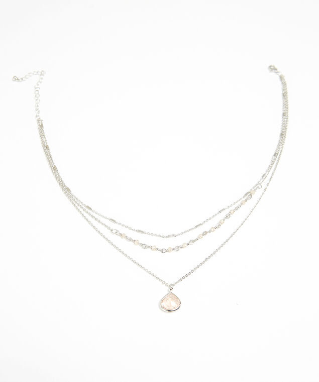 triple layer stone necklace, SILVER, hi-res