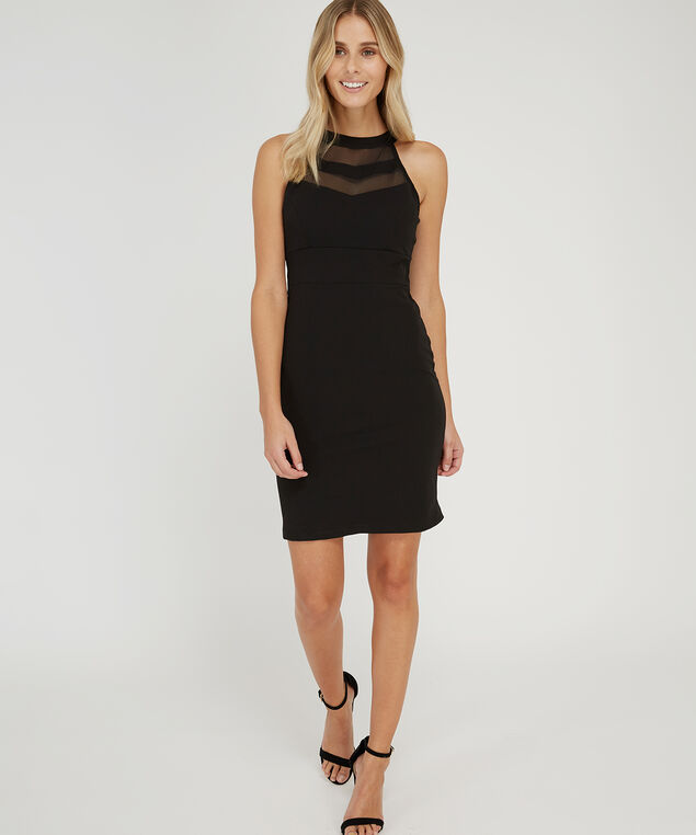 knit dress with mesh bodice - wb, BLACK, hi-res