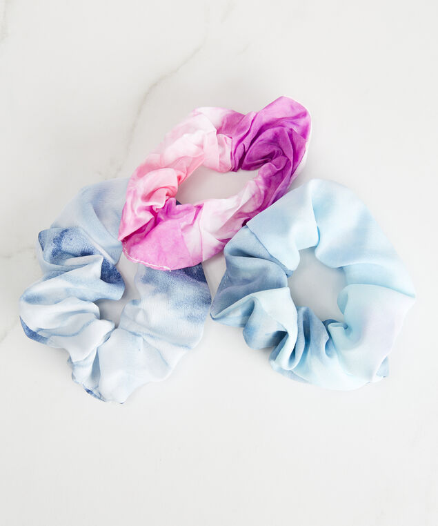 3 pack scrunchies, Blue Pattern