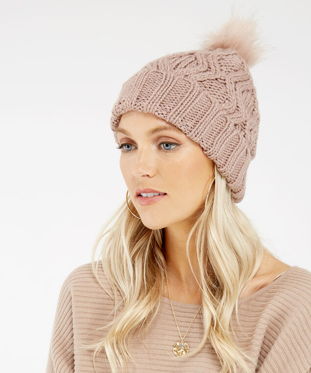 cable knit beanie, PINK, hi-res