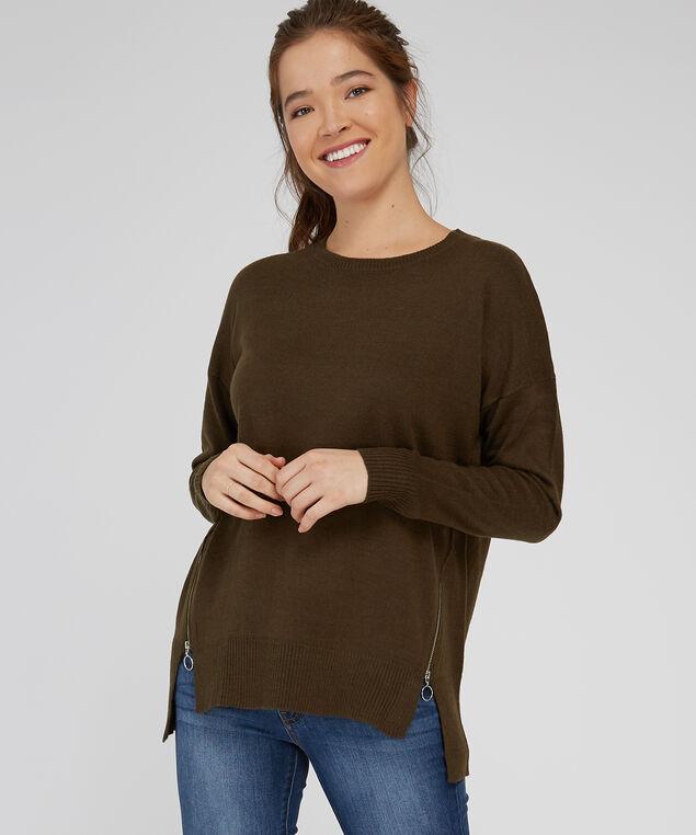 crew neck zipper sweater - wb, ARMY GREEN, hi-res
