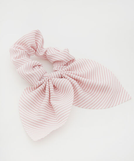 scrunchie with short tail - wb, PINK STRIPE, hi-res