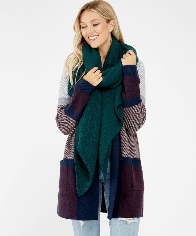 boucle blanket scarf, DARK GREEN, hi-res