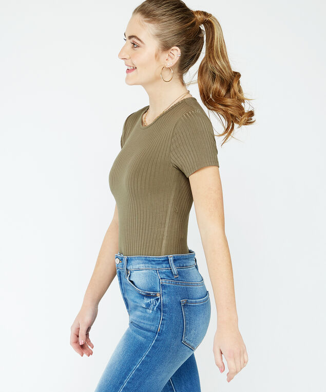 ribbed bodysuit - wb, khaki
