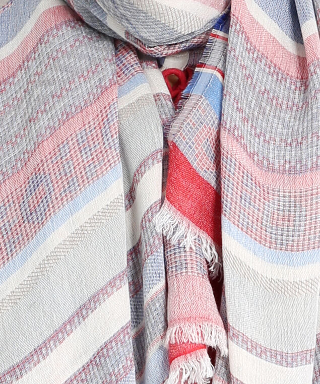 oblong stripe scarf, MULTI STRIPE, hi-res