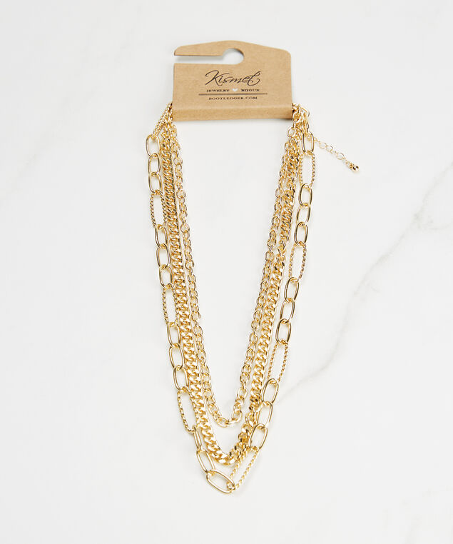 3 layer chain necklace, Gold