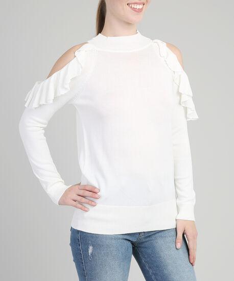 ruffled cold shoulder popover - wb, WHITE, hi-res