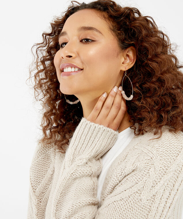 rose stone drop earrings, Gold, hi-res