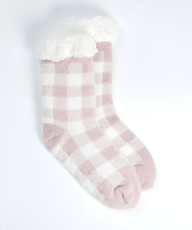 buffalo plaid slipper socks, Pink