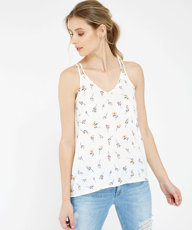 pink rose floral tank top - wb, IVORY DITSY, hi-res