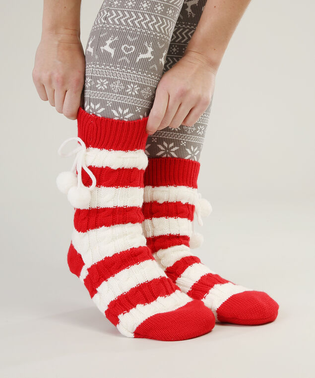cable knit slipper sock hol17, RED STRIPE, hi-res