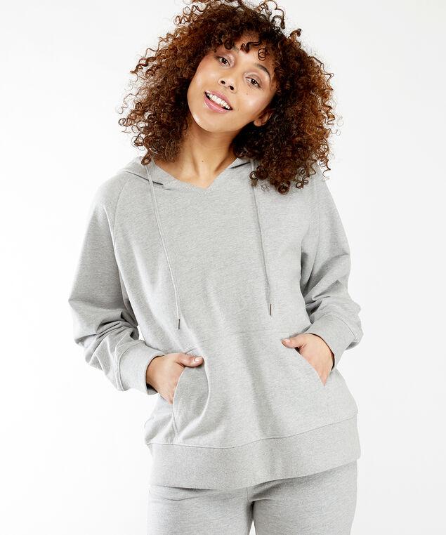 french terry hoodie notch, Heather Grey