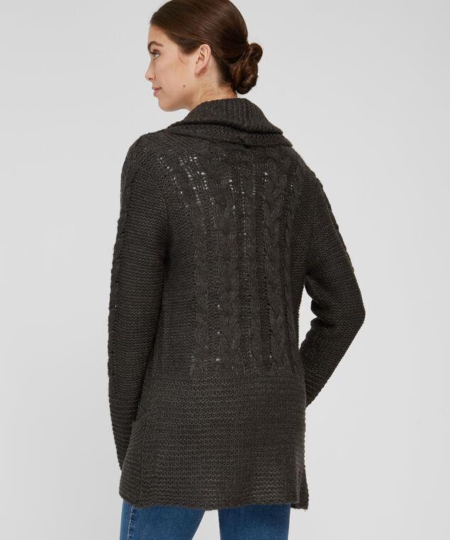 cable knit cardigan - wb, ASH GRY MEL, hi-res