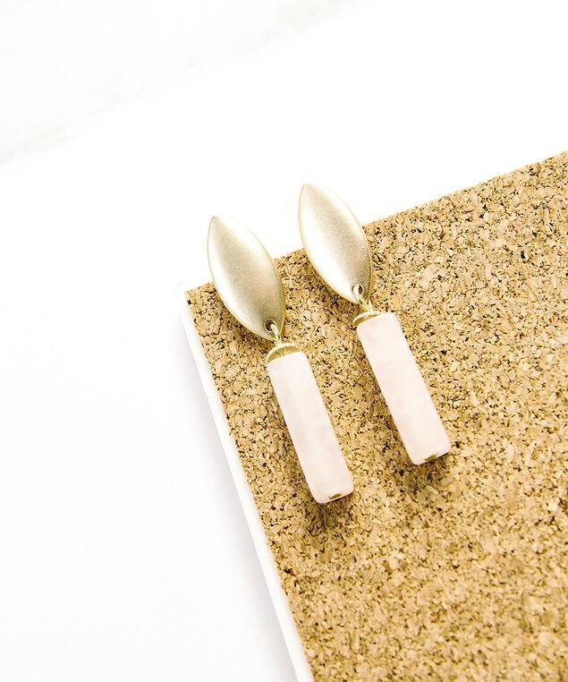 rectangle stone dangle earrings, matte gold, hi-res