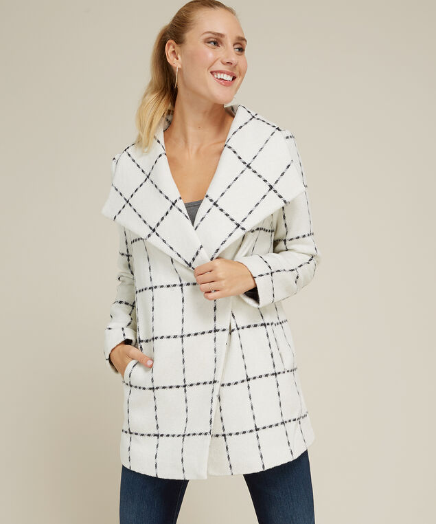 frosted plaid jacket - wb, IVORY PLAID, hi-res