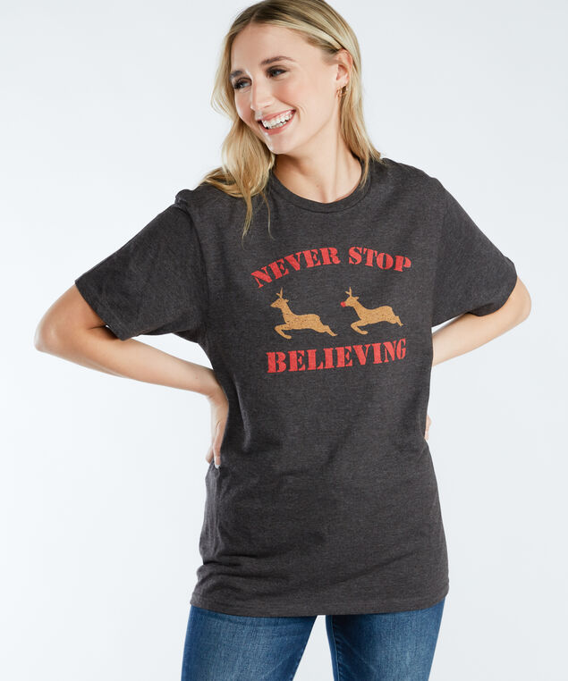 never stop believing graphic tee, Charcoal Heather