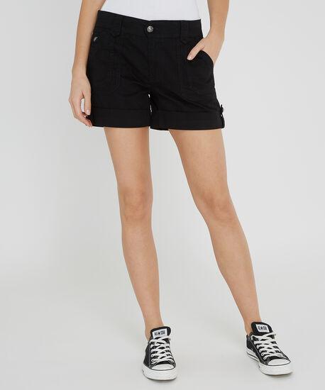 cuffed double pocket short - wb, BLACK, hi-res