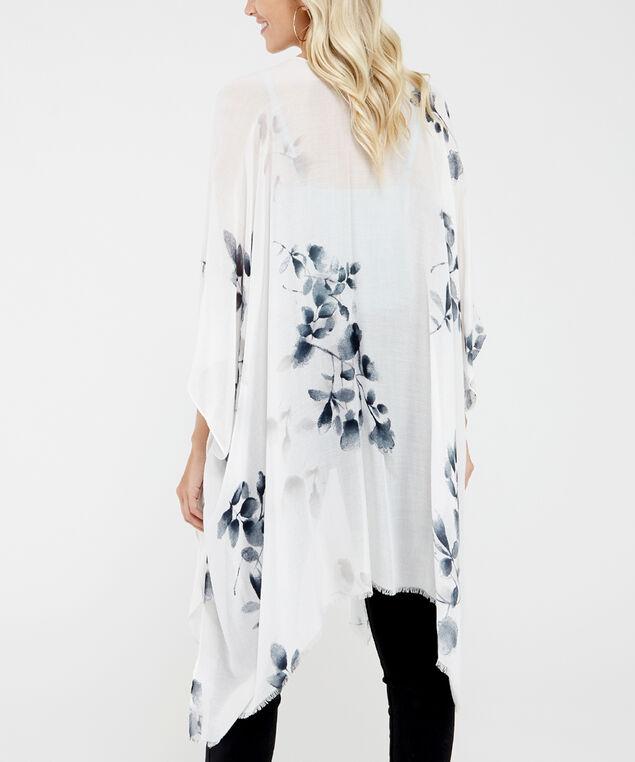 floral print kimono, Ivory, hi-res
