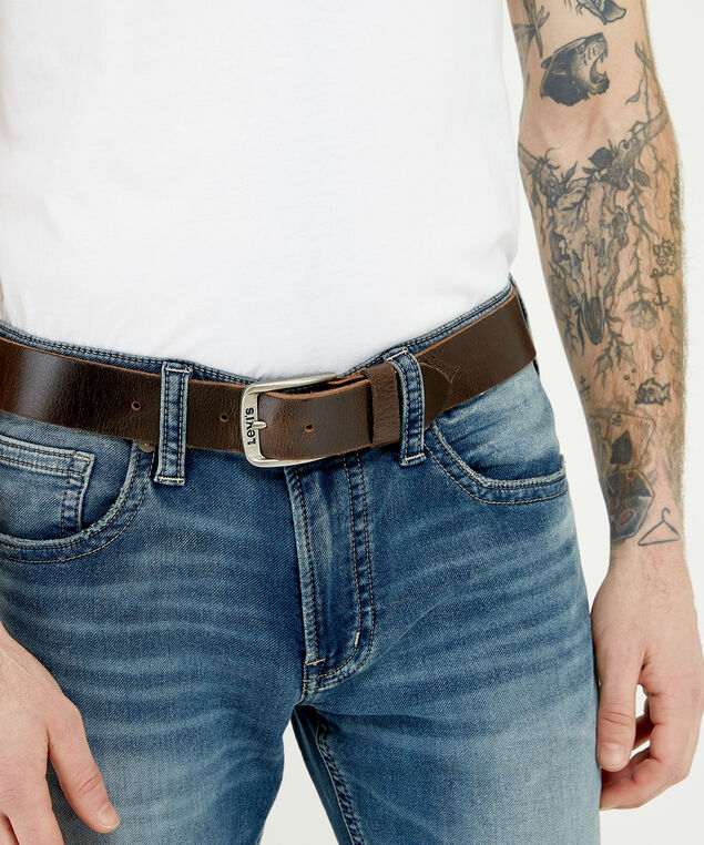 brown leather belt, Brown, hi-res