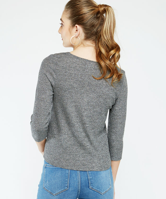 3/4 sleeve button top - wb, Charcoal