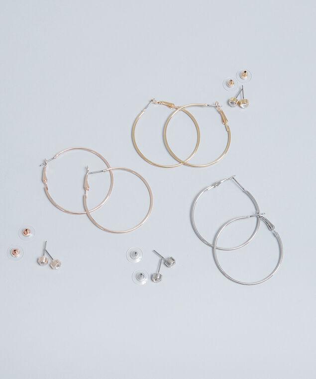 six pack of stud & hoop earrings, MULTI, hi-res