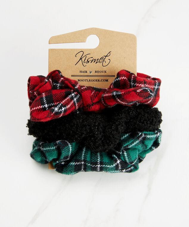 Set of 3 hair scrunchies, Black Pt, hi-res