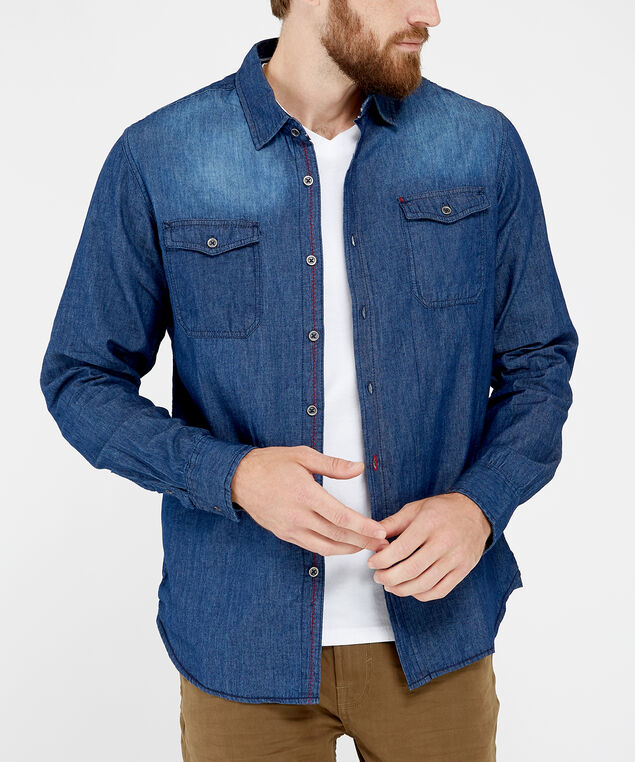chambray shirt, BLUE, hi-res