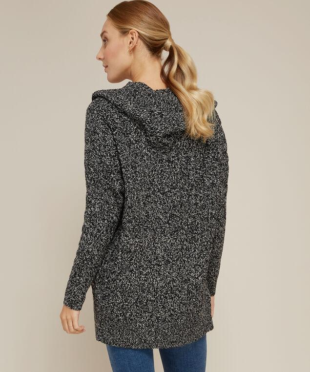 hooded cable cardigan - wb, BLACK TWIST, hi-res
