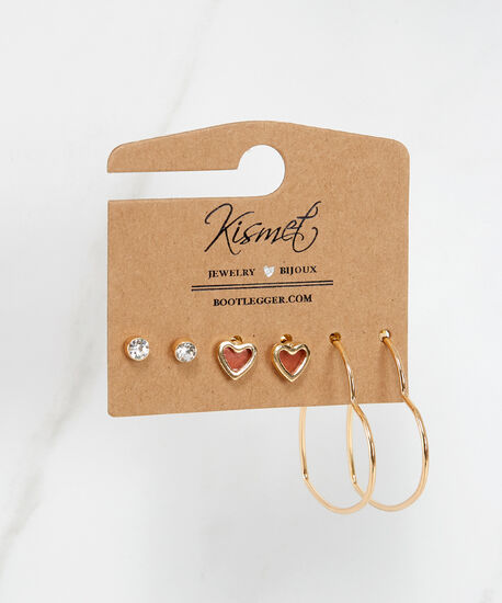 3 pack stud and heart earrings, Gold, hi-res