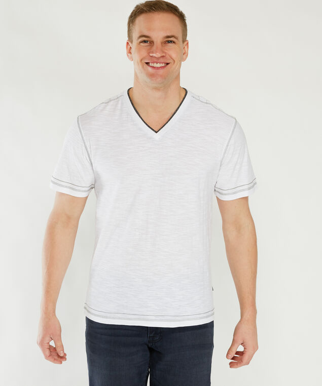 short sleeve vneck tee with mask, White