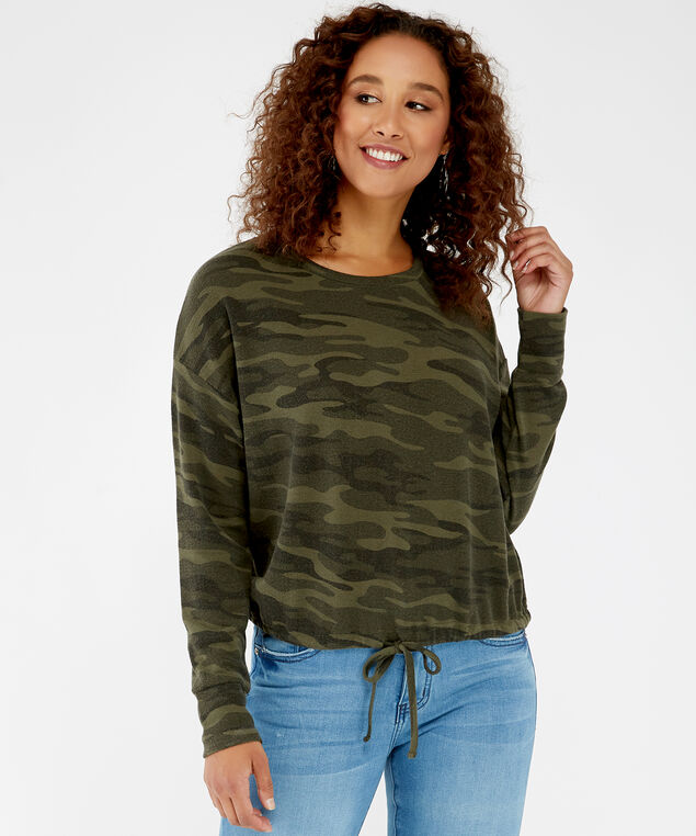 tie front long sleeve - wb, Green camo, hi-res