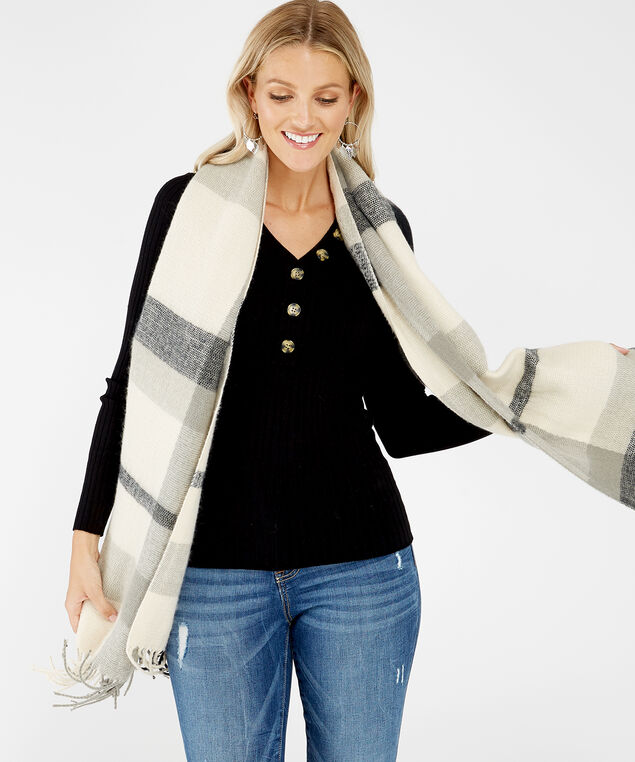 plaid blanket scarf, Grey, hi-res
