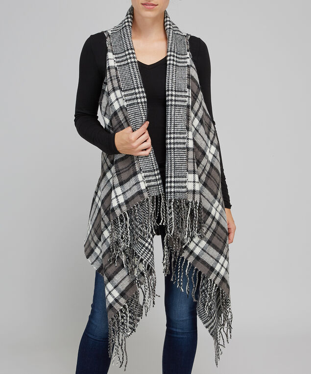 double sided plaid vest with fringe - wb, BLACK, hi-res