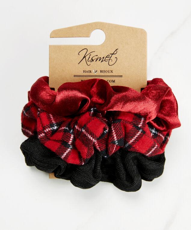 Set of 3 hair scrunchies, Red Pt, hi-res