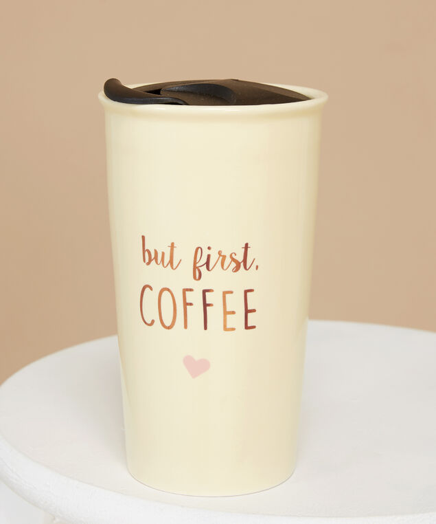 but first, coffee travel mug - wb, IVORY COMBO, hi-res