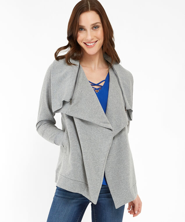 open fleece cardigan - wb, GREY MIX, hi-res
